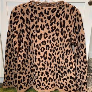 Ann Taylor Leopard print funnel neck sweater